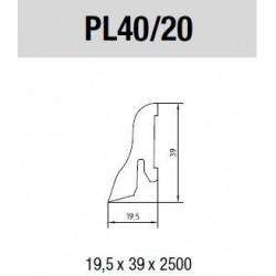 Lišta soklová Dub 40x20 mm